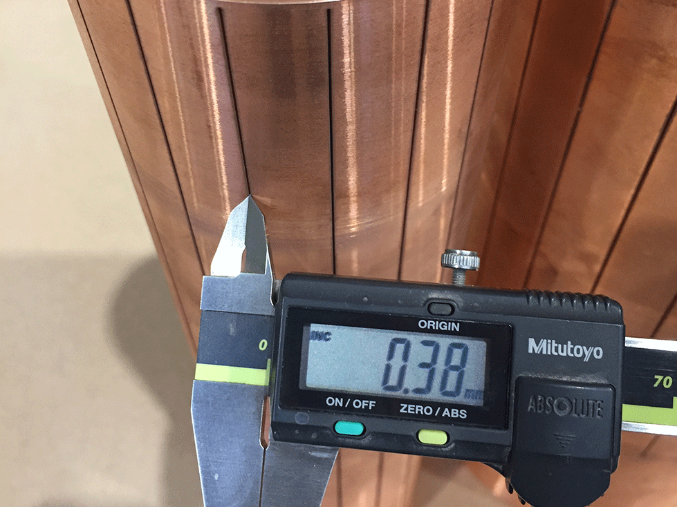0.38mm wide slots in a copper tube